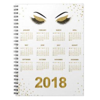 Caderno Espiral Mulheres com o calendário glittery da composição