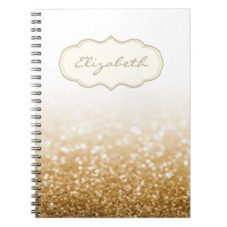 Caderno Espiral Na moda elegante, Bokeh brilhante, Glittery