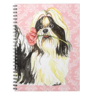 Caderno Espiral Namorados Shih cor-de-rosa Tzu