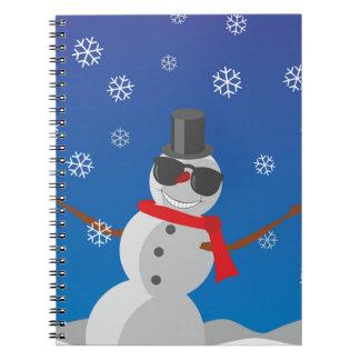 Caderno Espiral Natal do inverno da neve do homem da neve
