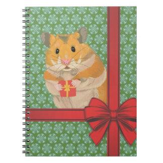 Caderno Espiral Natal Hammy do hamster do Natal