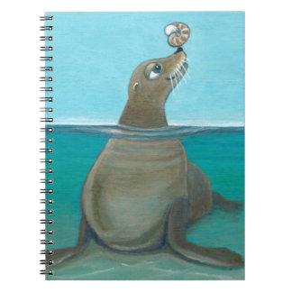 """Caderno Espiral """"Nautilus"""" o leão de mar"""