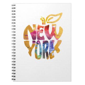 Caderno Espiral New York Apple, NYC. Caligrafia art. da aguarela