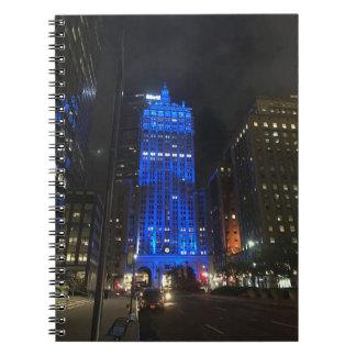 Caderno Espiral Noite de construção central de New York NYC Park