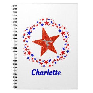 Caderno Espiral Nome personalizado estrelas Cheerleading da