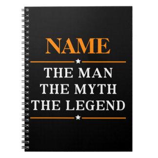 Caderno Espiral Nome personalizado o homem o mito a legenda