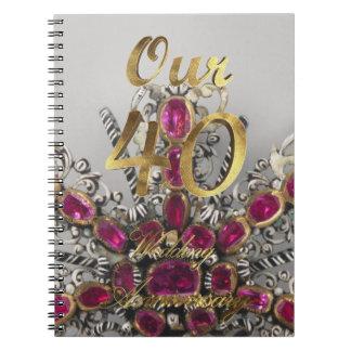 Caderno Espiral Nosso 40th casamento Wedding do rubi de Aniversary