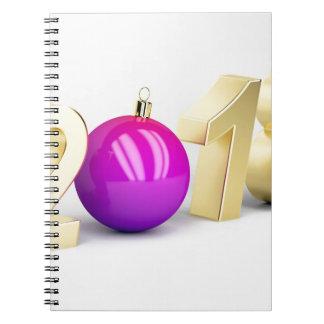 Caderno Espiral Número 2018 com bola do Natal