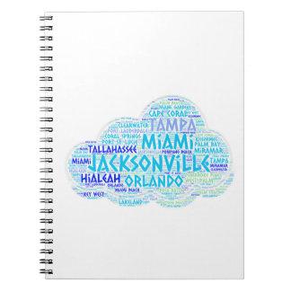 Caderno Espiral Nuvem ilustrada com as cidades do estado EUA de