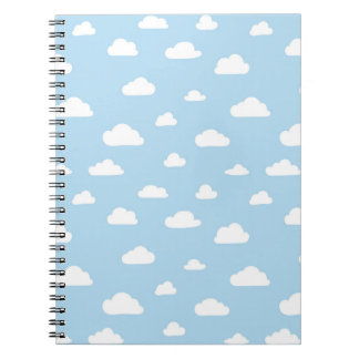 Caderno Espiral Nuvens brancas dos desenhos animados no teste