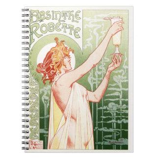 Caderno Espiral O absinto Robette - poster vintage do álcool