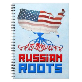 Caderno Espiral O americano do russo enraíza o bloco de notas