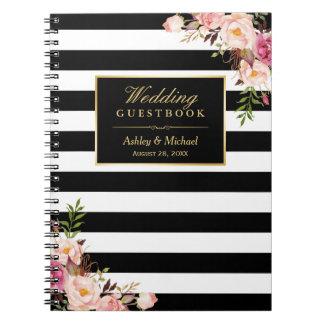 Caderno Espiral O branco preto listra o Guestbook floral do