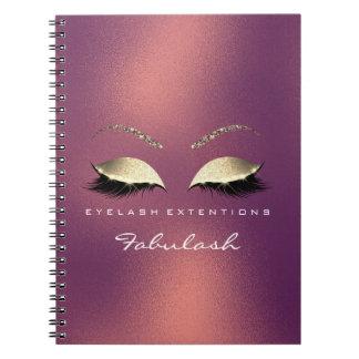 Caderno Espiral O brilho cor-de-rosa do ouro do cobre Eyes o luxo