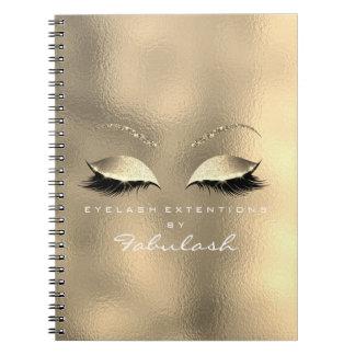 Caderno Espiral O brilho de vidro do ouro do metal Eyes o branco