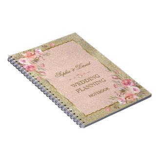 Caderno Espiral O brilho Glam do ouro cora planejador floral do
