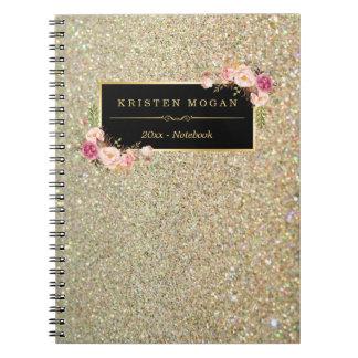 Caderno Espiral O brilho moderno do ouro Sparkles floral feminino