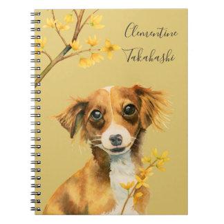 Caderno Espiral O cão bonito com Forsythia | adiciona seu nome