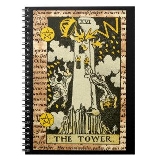 Caderno Espiral O cartão de Tarot da torre