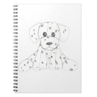 Caderno Espiral o doodle simples do cão caçoa o dalmatian branco