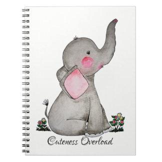 Caderno Espiral O elefante bonito do bebê da aguarela com cora &
