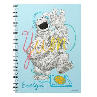 Caderno Espiral O esboço | do monstro B&W do biscoito adiciona seu
