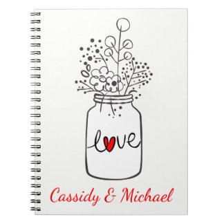 Caderno Espiral O frasco de pedreiro rústico floresce o casamento