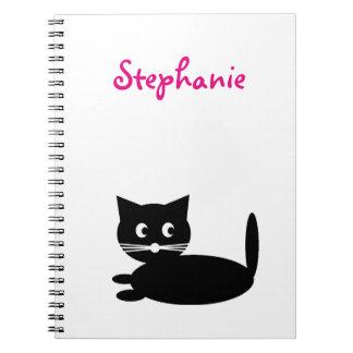 Caderno Espiral O gato preto personalizado caçoa o nome