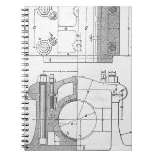 Caderno Espiral O gráfico do mecânico industrial do vintage