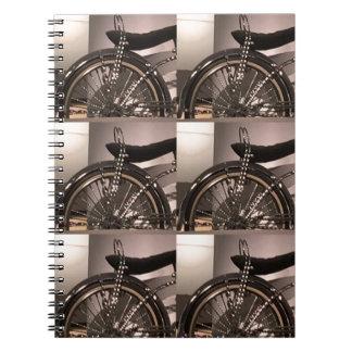 Caderno Espiral O modelo gráfico do deco da arte da bicicleta do