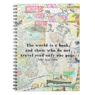 Caderno Espiral O mundo é umas CITAÇÕES do VIAGEM do livro