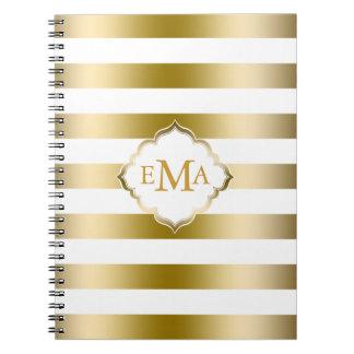 Caderno Espiral O ouro de Monogramed listra o teste padrão