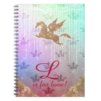 Caderno Espiral O ouro do brilho do unicórnio ilumina a letra L