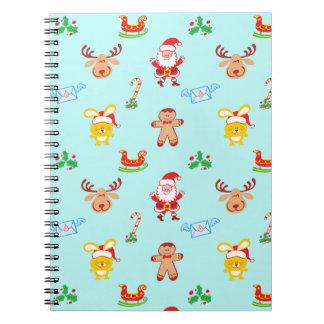 Caderno Espiral O papai noel, a rena, o coelho e o biscoito