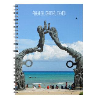 Caderno Espiral O Playa del Carmen caribe a cena da praia do