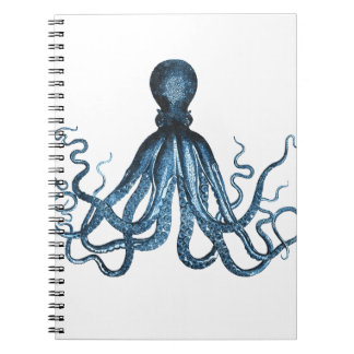 Caderno Espiral O polvo kraken o azul litoral náutico do mar do