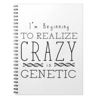 Caderno Espiral O preto órfão   louco é genético