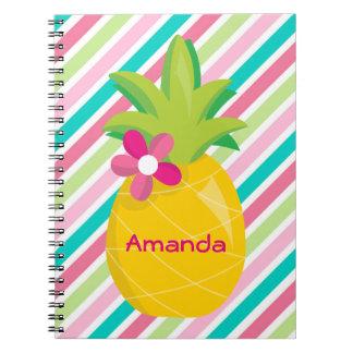 Caderno Espiral O rosa colorido listra o abacaxi amarelo