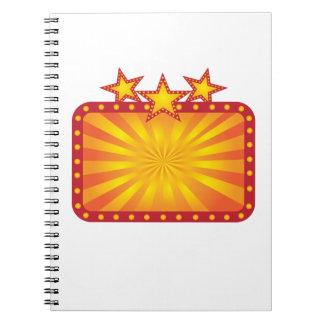 Caderno Espiral O sinal retro do famoso com Sun irradia a