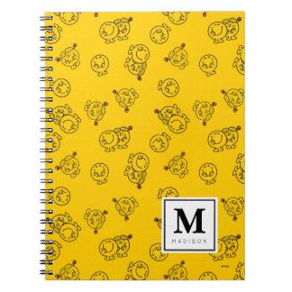 Caderno Espiral O teste padrão amarelo | adiciona seu nome