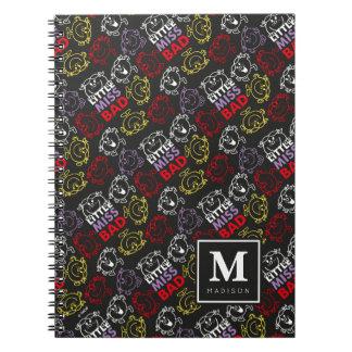 Caderno Espiral O teste padrão preto, vermelho & amarelo |