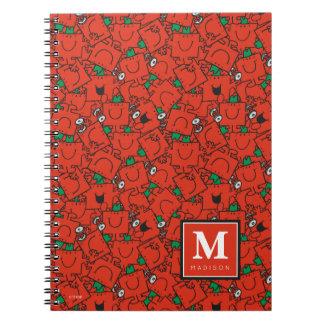 Caderno Espiral O teste padrão verde vermelho de levantamento |