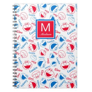 Caderno Espiral O teste padrão vermelho & azul | adiciona seu nome