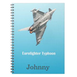 Caderno Espiral O tufão de Eurofighter personalizado
