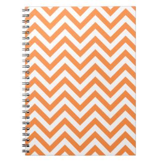 Caderno Espiral O ziguezague alaranjado e branco listra o teste
