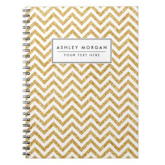 Caderno Espiral O ziguezague do brilho do ouro branco listra o