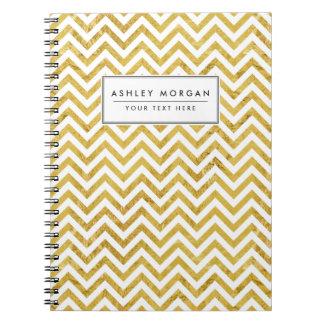 Caderno Espiral O ziguezague elegante da folha de ouro listra o