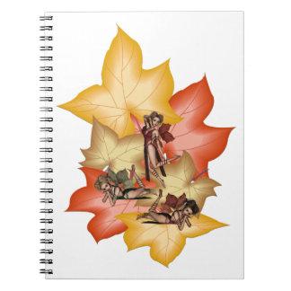 Caderno Espiral Objectivas triplas de Fae da folha da queda