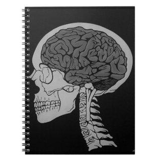 Caderno Espiral Obscuridade de esqueleto gótico do cérebro do