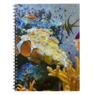 Caderno Espiral oceano do coral dos peixes do recife
